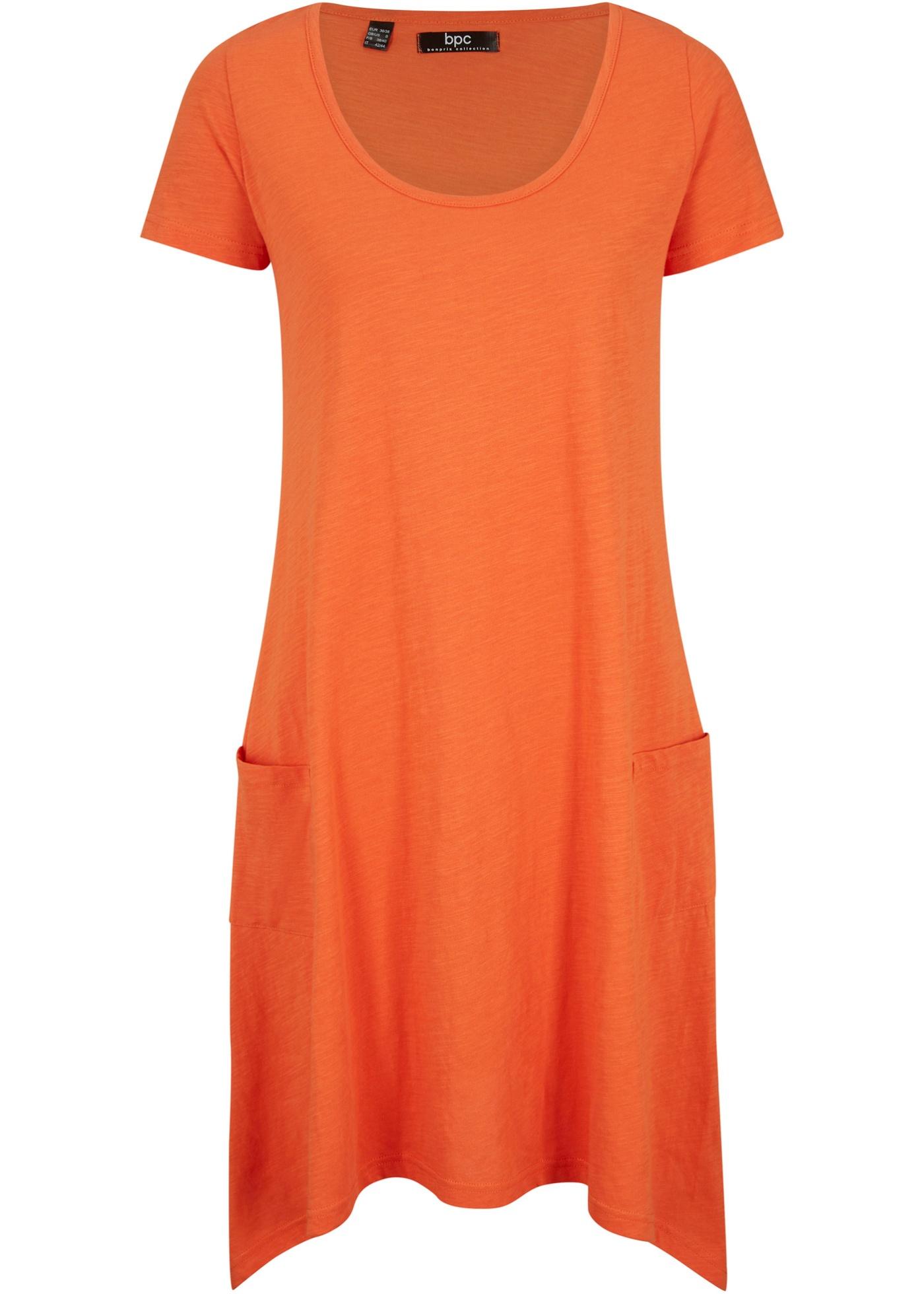 Abito a maniche corte in maglina con filato fiammato (Arancione) - bpc bonprix collection