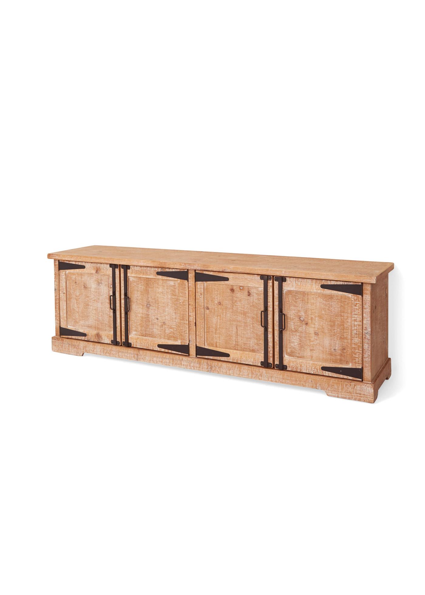 Mobile da soggiorno basso in legno - Colore naturale / bianco