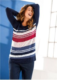 Pullover boxy, bpc bonprix collection, Blu scuro melange a righe