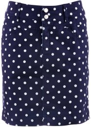 Gonna elasticizzata con lycra, bpc bonprix collection, Blu scuro / bianco a pois