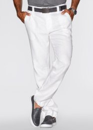 Pantalone di lino regular fit straight, bpc bonprix collection, Bianco