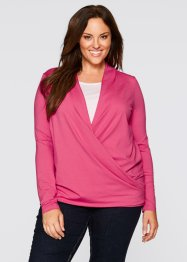 Maglia incrociata 2 in 1 a manica lunga, bpc bonprix collection, Fucsia medio