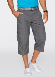 Pantalone 3/4 loose fit + cintura  (set 2 pezzi), bpc bonprix collection, Grigio fumé