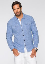 Camicia in misto lino regular fit, bpc selection, Blu melange