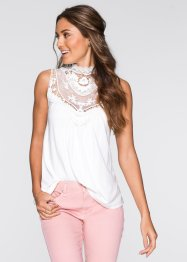 Top con pizzo, BODYFLIRT, Ecru