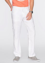 Pantalone cargo in puro lino regular fit, bpc bonprix collection, Bianco