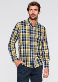 Camicia a quadri a manica lunga regular fit, bpc bonprix collection, Giallo / blu a quadri