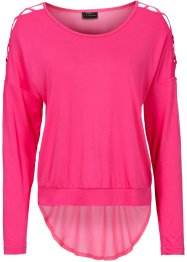 Blusa in maglina, RAINBOW, Fucsia scuro