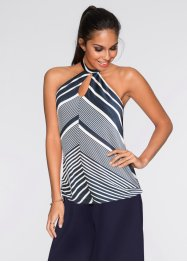 Top con scollo all'americana, BODYFLIRT, Bianco / blu scuro a righe
