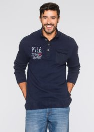 Pullover lupetto regular fir, bpc bonprix collection, Blu scuro