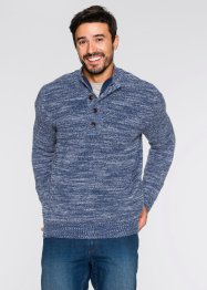 Pullover con bottoni regular fit, John Baner JEANSWEAR, Indaco fantasia