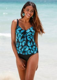 Top per tankini, bpc bonprix collection, Nero / turchese