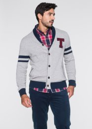 Cardigan con collo a revers regular fit, bpc bonprix collection, Grigio chiaro melange