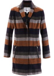 Cappotto ampio, bpc bonprix collection, Blu scuro / cognac a righe