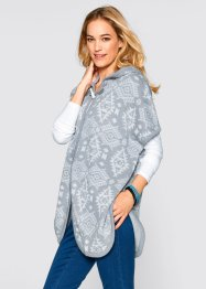 Cardigan con cappuccio, bpc bonprix collection, Grigio fantasia