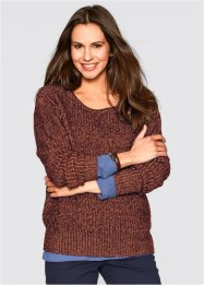 Pullover bicolore, bpc bonprix collection, Cannella / prugna