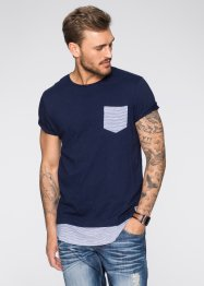 T-shirt lunga slim fit, RAINBOW, Blu scuro