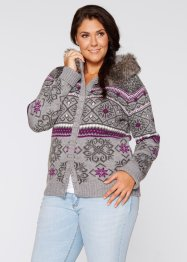 Cardigan con cappuccio, bpc bonprix collection, Grigio melange fantasia
