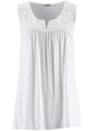 Top in maglina con pizzo, bpc bonprix collection, Bianco