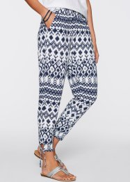 Pantalone in maglina 7/8, bpc bonprix collection, Blu scuro / bianco fantasia