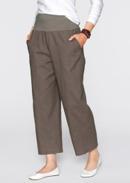 Pantaloni in misto lino, bpc bonprix collection, Marrone medio