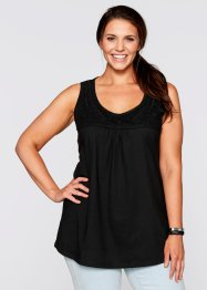 Top con pizzo, bpc bonprix collection, Nero