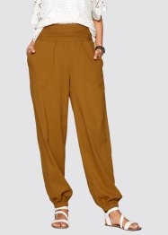 Pantalone alla turca in tessuto crinkle, bpc bonprix collection, Marrone