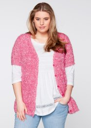 Cardigan peloso a manica corta, bpc bonprix collection, Rosa intenso