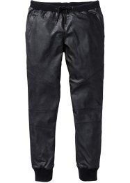 Pantalone in similpelle slim fit straight, RAINBOW, Nero