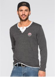 Pullover slim fit, RAINBOW, Antracite melange