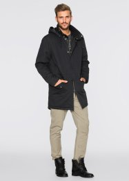 Parka con cappuccio e collo a scialle regular fit, RAINBOW, Nero