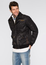 Giacca con collo in pellicciotto sintetico regular fit, John Baner JEANSWEAR, Nero