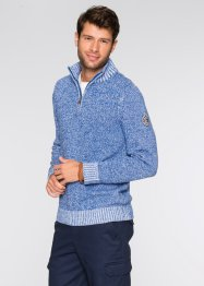 Pullover con cerniera regular fit, bpc bonprix collection, Blu / bianco melange
