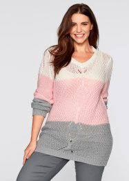 Pullover a trecce con scollo a V, bpc bonprix collection, Menta pastello a righe