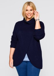 Pullover incrociato a collo alto, bpc bonprix collection, Blu scuro
