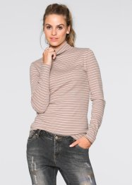 Pullover a collo alto, RAINBOW, Rosa tenero / marroncino a righe