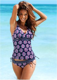Slip per bikini, bpc bonprix collection, Blu scuro / fucsia a quadri