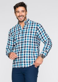 Camicia in flanella a quadri regular fit, bpc selection, Bacca / bianco / nero a quadri