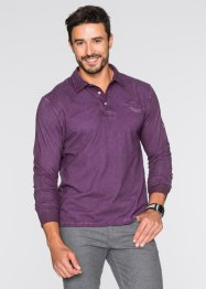 Polo a manica lunga regular fit, bpc selection, Melanzana