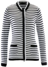 Cardigan con bordi di perle, bpc selection, Bianco / nero a righe