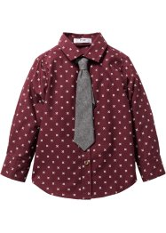 Camicia fantasia con cravatta, bpc bonprix collection, Rosso acero fantasia