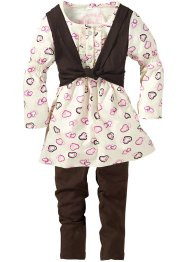 Abito + gilet + leggings (set 3 pezzi), bpc bonprix collection