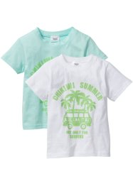 T-shirt (pacco da 2), bpc bonprix collection, Menta pastello + bianco