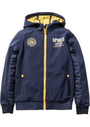 Giacca di softshell con cappuccio, bpc bonprix collection, Blu scuro / giallo