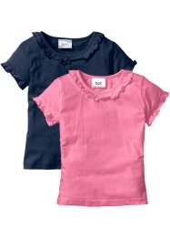 T-shirt (pacco da 2), bpc bonprix collection, Blu scuro + rosa acceso