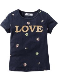 T-shirt con glitter, bpc bonprix collection, Blu scuro stampato