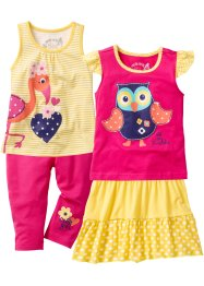 Top + t-shirt + gonna + pinocchietto (set 4 pezzi), bpc bonprix collection, Giallo / fucsia