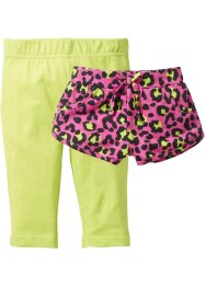 Shorts + leggings 3/4 (set 2 pezzi), bpc bonprix collection, Fucsia fantasia + kiwi