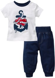 T-shirt + pantalone di felpa (set 2 pezzi) in cotone biologico, bpc bonprix collection
