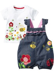 T-shirt + salopette di jeans (set 2 pezzi), bpc bonprix collection